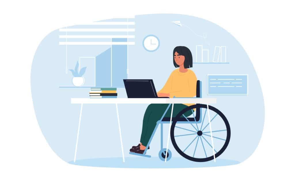 femme en fauteuil à un bureau