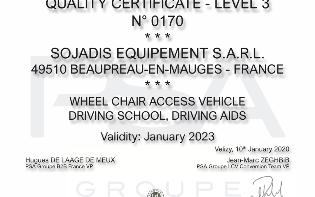 New PSA Quality Certificate for SOJADIS Équipement!