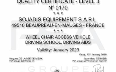 New PSA Quality Certificate for SOJADIS Équipement!