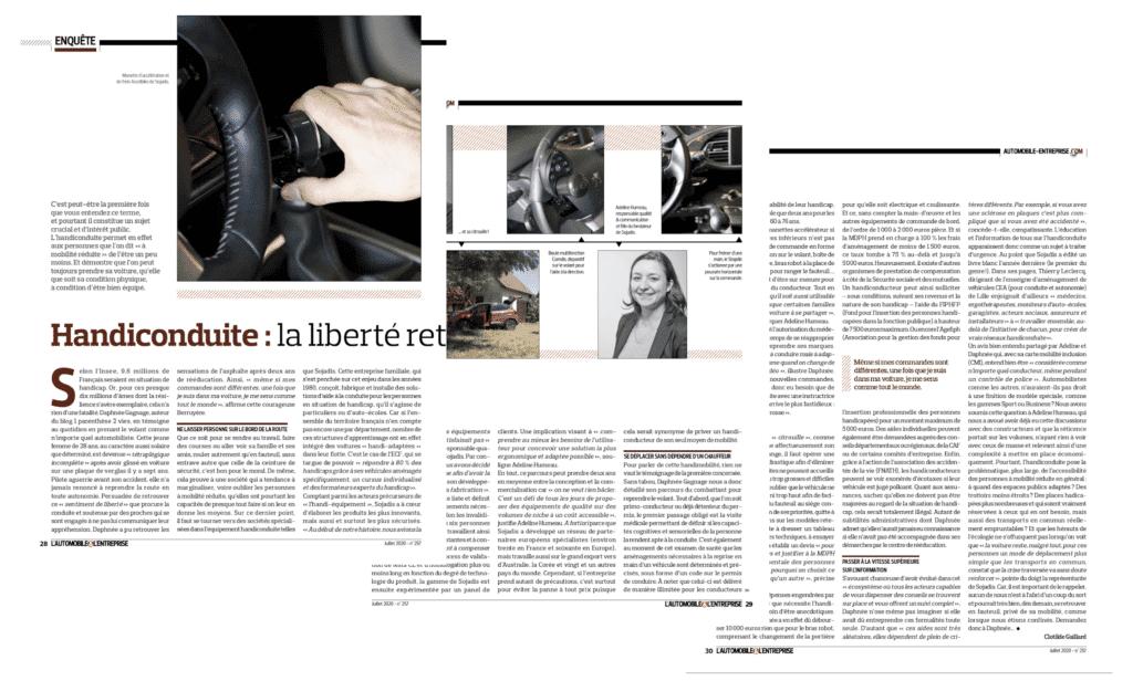 Dossier sur la conduite adaptée du magazine L'Automobile & L'entreprise