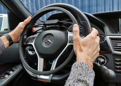 Aménagement d'un cercle au volant sur Mercedes Classe E